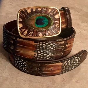 Accessories - Stunning Vintage Peacock Feather Western Belt